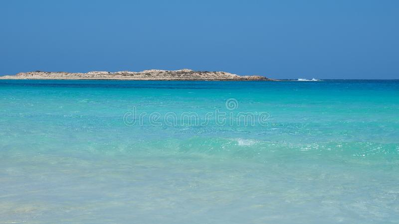 Marsa Matruh, Egypt. The amazing sea with tropical blue, turquoise and green colors. Relaxing context. Fabulous holidays. Mediterranean Sea. North Africa stock image