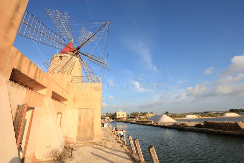 Marsala salt ponds. Marsala saltworks in Sicily island, Italy. Salt evaporation ponds stock photo