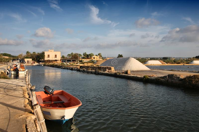 Marsala salt works royalty free stock photography