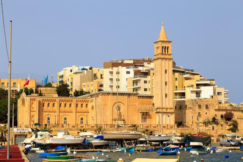Marsascala教区教堂,马耳他 库存图片