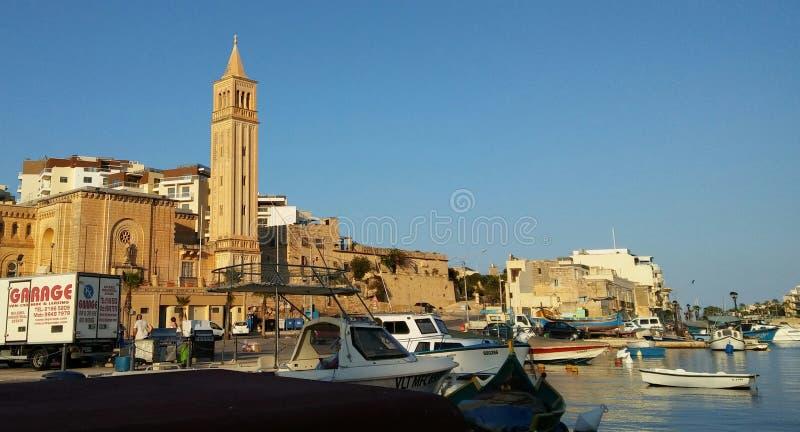 Marsaskala - gammalt fiskeläge på den Malta ön arkivfoto