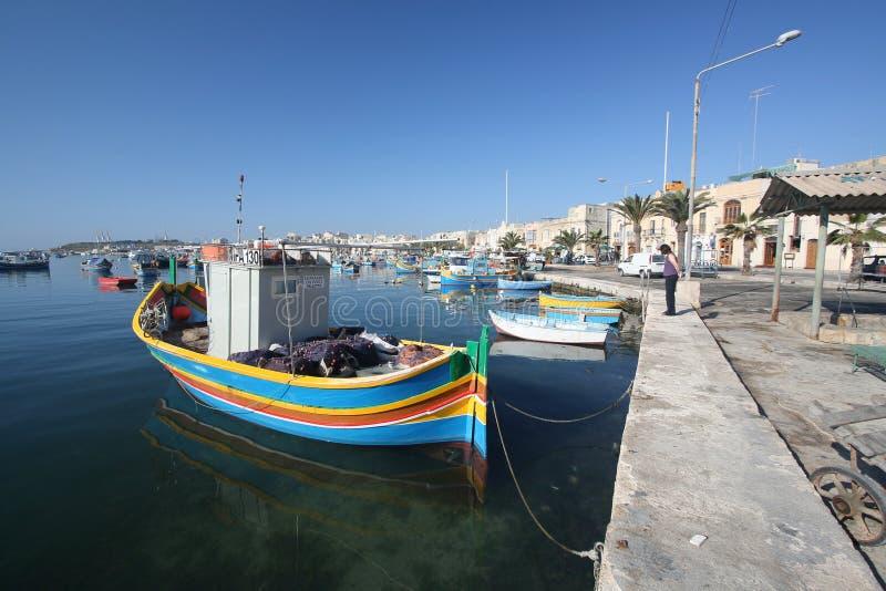 The waterfront at Marsaxlokk royalty free stock image