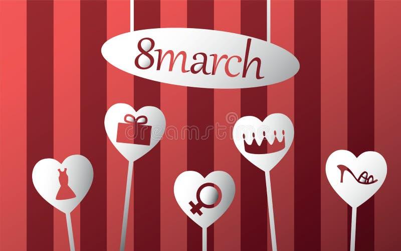 8 marsch royaltyfri illustrationer