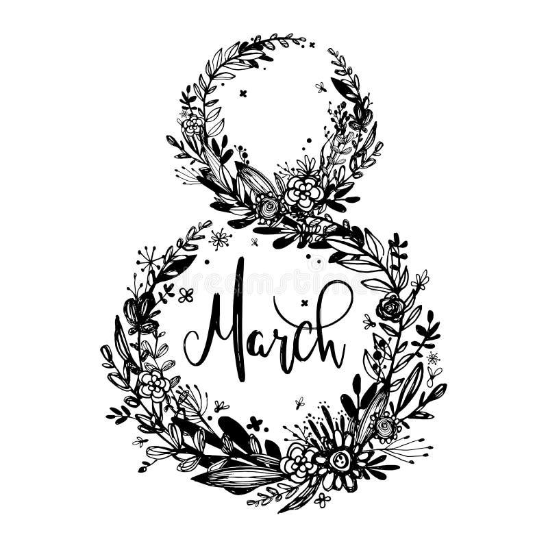 8 marsch - dag för kvinna` s Bakgrund berömemblem, etikett, symbol Inbjudan för textkort, mall också vektor för coreldrawillustra vektor illustrationer