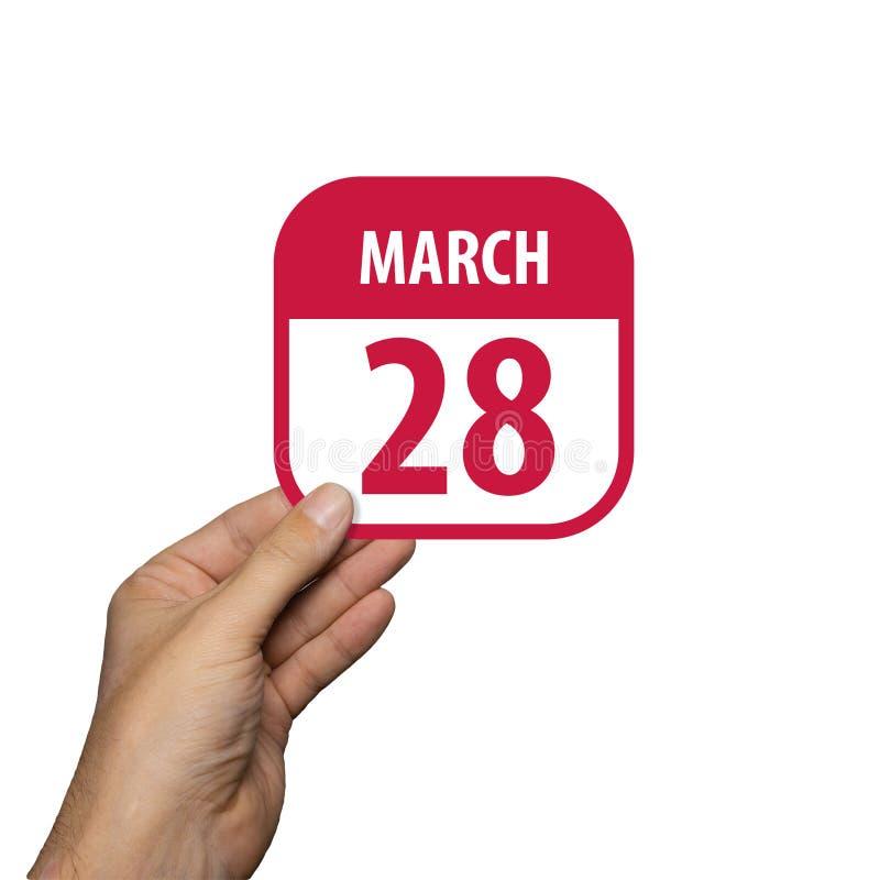marsch 28:e Dag 28 i månaden,håll i handen en enkel kalenderikon med datum på vit bakgrund Planering Tidsförvaltning Uppsättning  arkivfoton