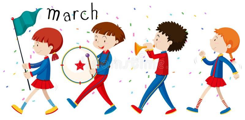 Marsch för skolamusikband på vägen vektor illustrationer