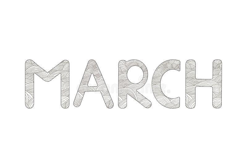 marsch Idérik hand drog bokstäver Färga sidan stock illustrationer