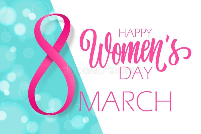 8 marsch, lycklig bakgrund för ferie för dag för kvinna` s med det hand drog bokstäver- och rosa färgbandet stock illustrationer