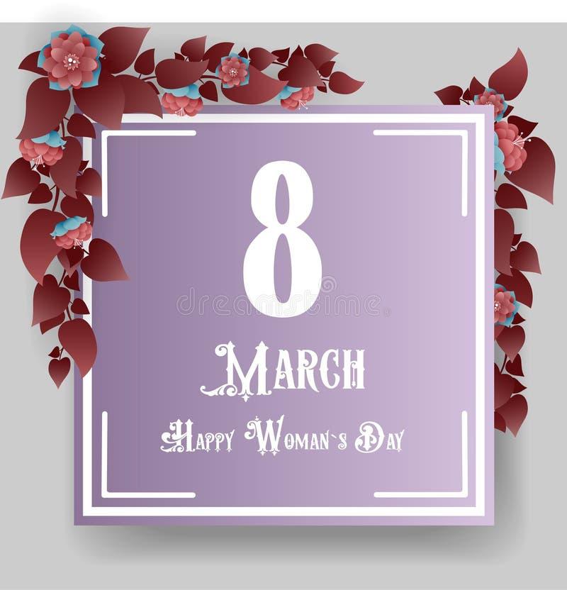 8 marsch, lyckliga kvinnors dag stock illustrationer