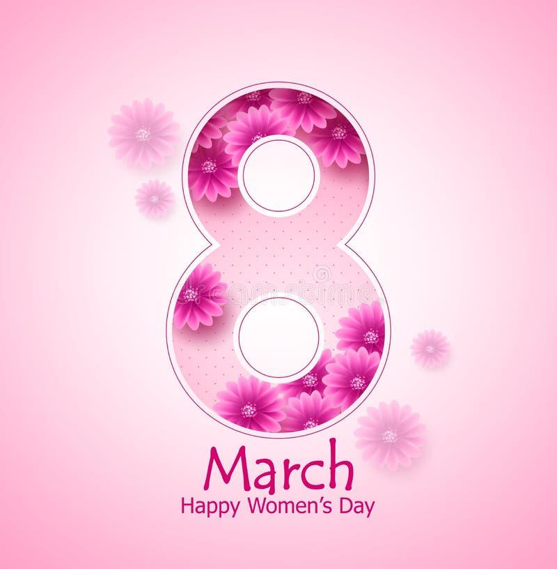 Marschera designen för banret för vektorn för dagen för ` s för 8 den lyckliga kvinnor med blommabeståndsdelar vektor illustrationer