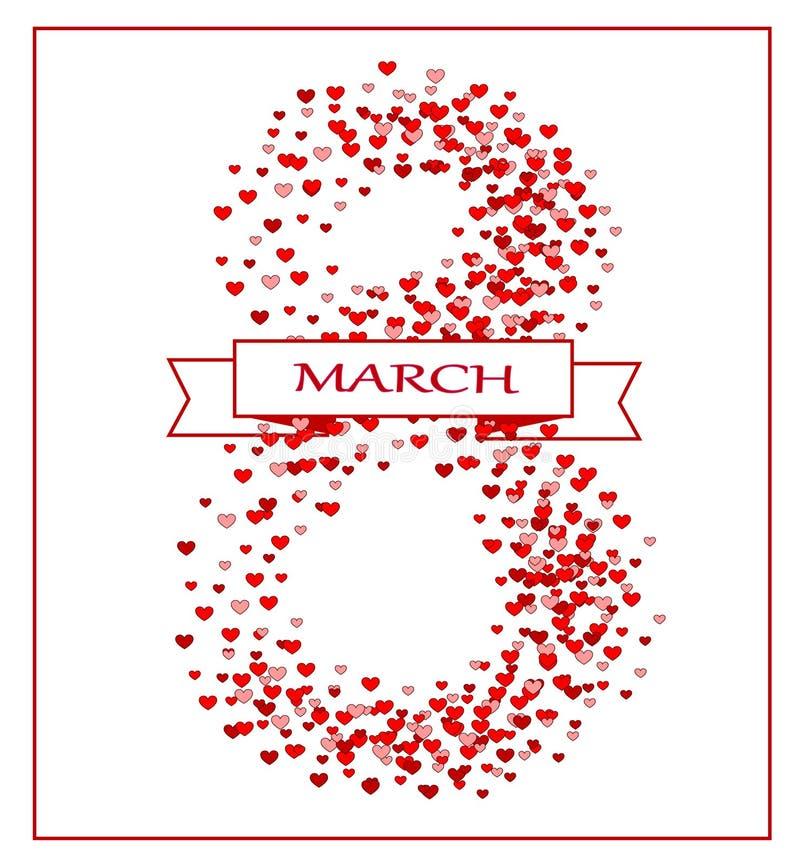Marschera 8, hjärtor, vykortet, internationella kvinnors dag royaltyfri illustrationer