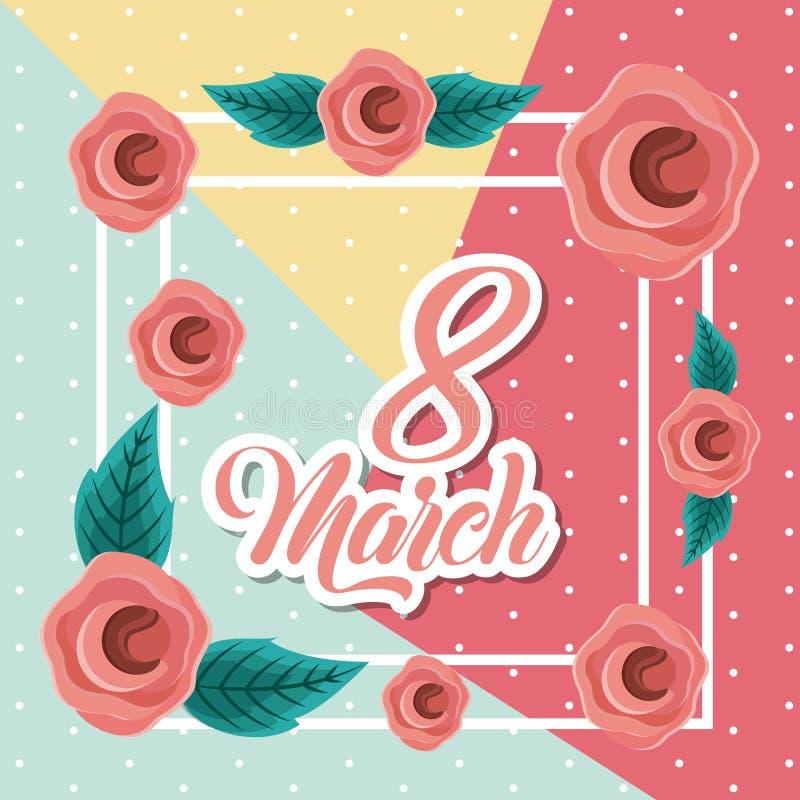 Marschera 8 internationella kvinnors bilden för kortet för daghälsningen den blom- stock illustrationer