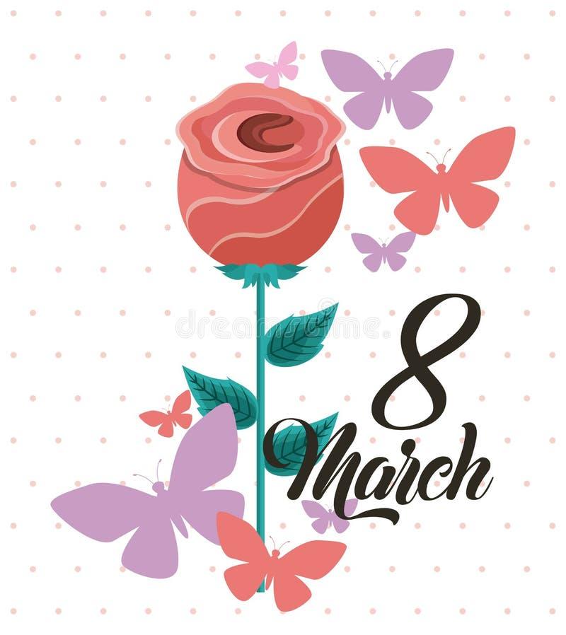 Marschera 8 internationella kvinnors bilden för kortet för daghälsningen den blom- vektor illustrationer
