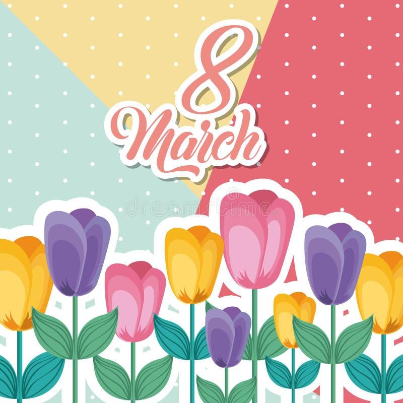 Marschera 8 internationella kvinnors bilden för kortet för daghälsningen den blom- royaltyfri illustrationer
