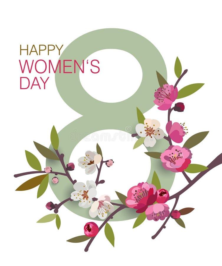 Marschera kortet för hälsningen för dagen för ` s för 8 det internationella kvinnor med en blommande filial royaltyfri illustrationer