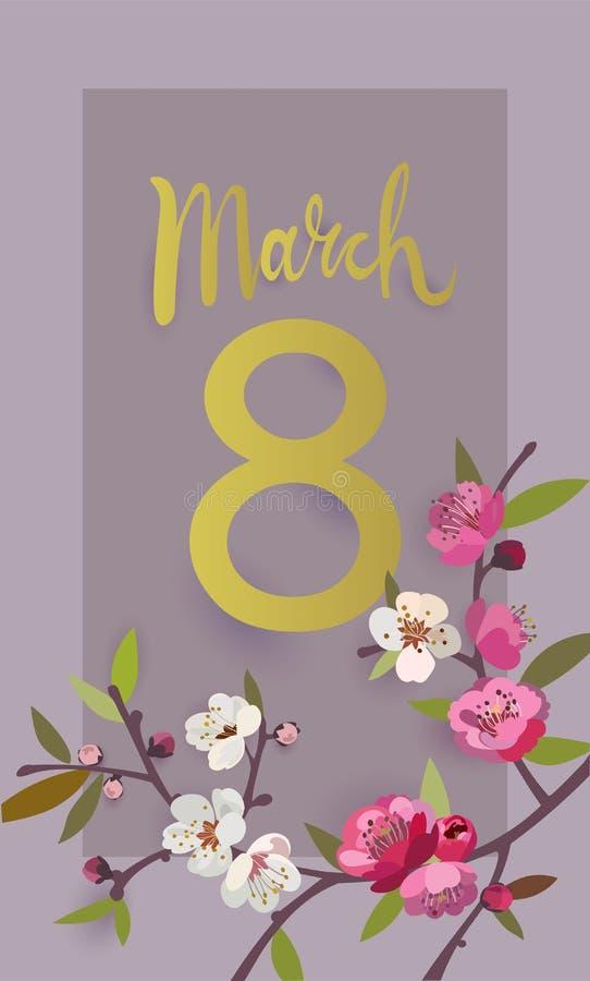 Marschera kortet för hälsningen för dagen för ` s för 8 det internationella kvinnor med en blommande filial stock illustrationer