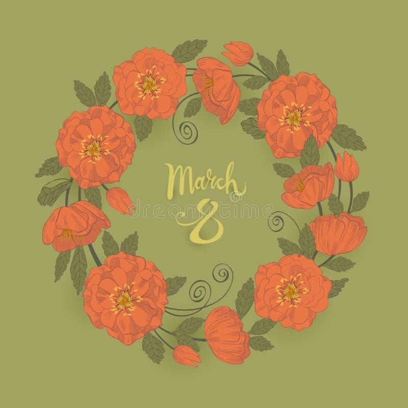 Marschera kortet för hälsningen för dagen för ` s för 8 kvinnor med en blom- kransram stock illustrationer