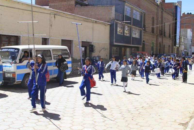 Marschmusikband, oruro, Bolivia royaltyfri foto