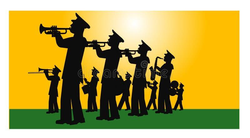 Marschmusikband på fältet stock illustrationer