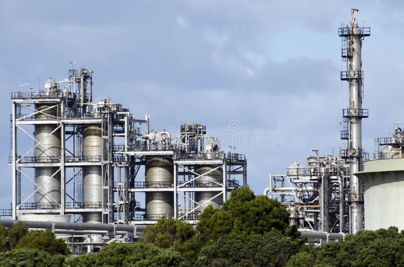 Marsden Point Oil Refinery. On July 28 2013.It's produces 70 per cent of New Zealand's refined oil needs, with the rest being imported from Singapore, Australia royalty free stock photography
