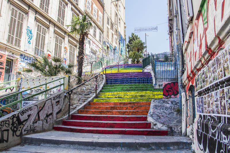 Marseille city streets stairs colors. Street art stock photos