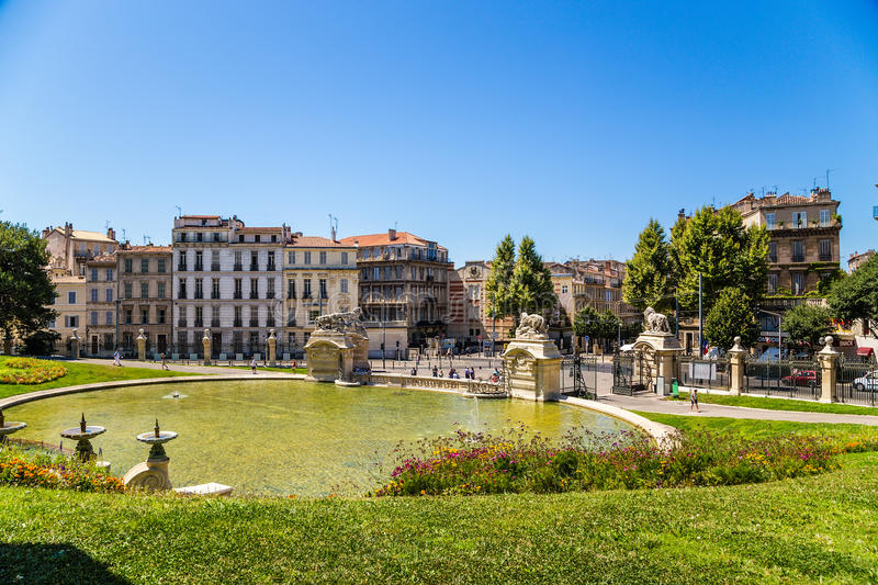 Marseille, France. Big pond at the bottom of the palace Longchamp. The Palais Longchamp is a monument in the 4th arrondissement of Marseille, France. It houses royalty free stock images