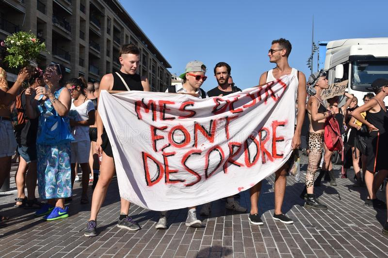 Gay Pride Parade in Marseille. Marseille, France - July 07, 2018 : Revelers take part in the Pride Parade 2018 in Marseille, southern France stock photo