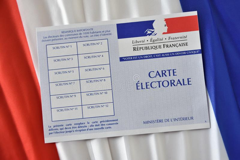 French electoral card. Marseille, France - June 28, 2019 : French electoral card pictured in Marseille on March 28, 2017 royalty free stock photo