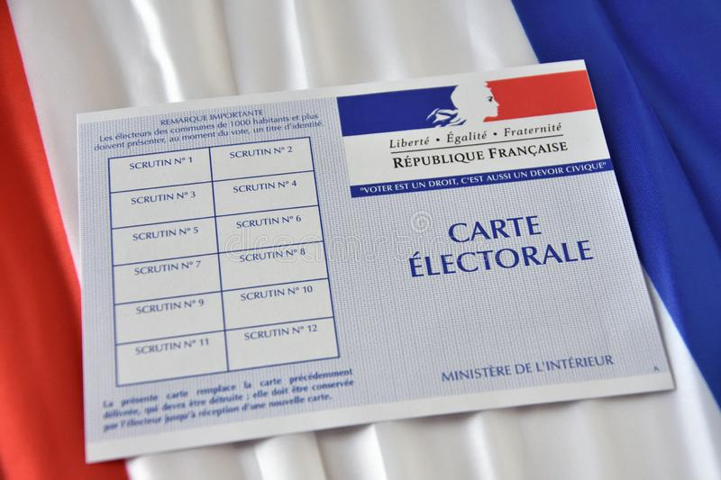 French electoral card. Marseille, France - June 28, 2019 : French electoral card pictured in Marseille on March 28, 2017 royalty free stock photography