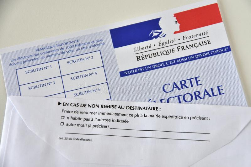 French electoral card. Marseille, France - June 28, 2019 : French electoral card pictured in Marseille on March 28, 2017 stock photography