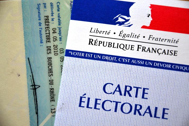 French electoral card. Marseille, France - June 28, 2019 : French electoral card pictured in Marseille on March 25, 2015 stock photos