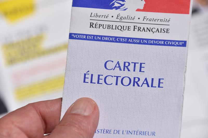 French electoral card. Marseille, France - June 28, 2019 : French electoral card pictured in Marseille on May 22, 2019 royalty free stock photos