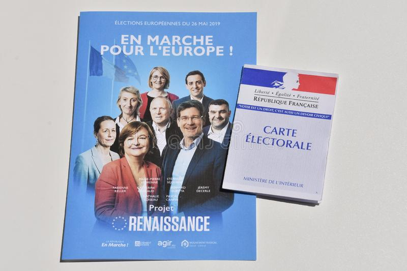 French electoral card. Marseille, France - June 28, 2019 : French electoral card pictured in Marseille on May 22, 2019 stock photo