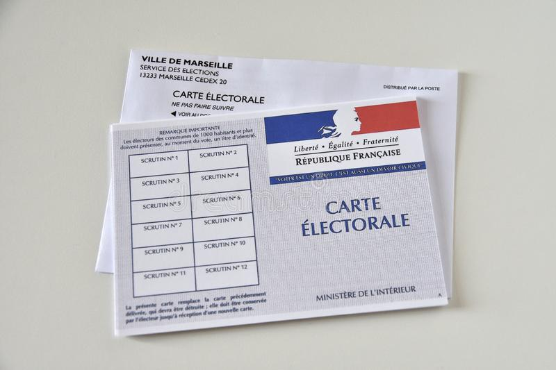 French electoral cards. Marseille, France - June 28, 2019 : French electoral cards pictured in Marseille on March 28, 2017 stock photos