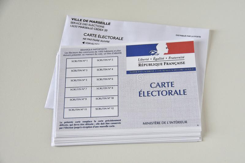 French electoral cards. Marseille, France - June 28, 2019 : French electoral cards pictured in Marseille on March 28, 2017 royalty free stock image
