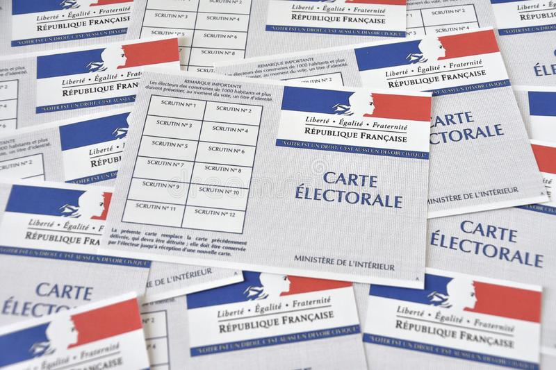 French electoral cards. Marseille, France - June 28, 2019 : French electoral cards pictured in Marseille on March 28, 2017 stock photo