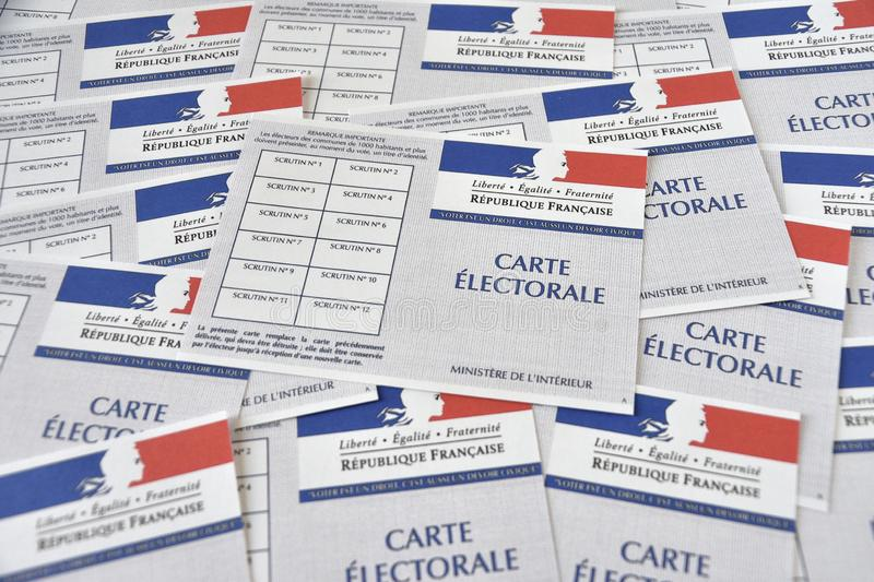 French electoral cards. Marseille, France - June 28, 2019 : French electoral cards pictured in Marseille on March 28, 2017 stock image