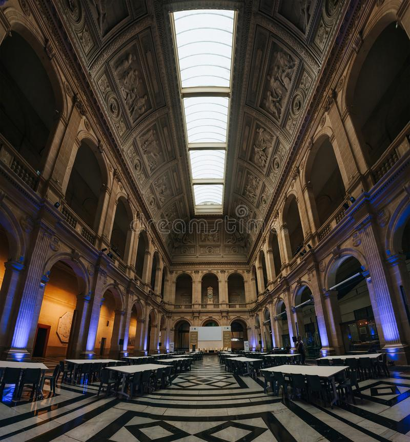 MARSEILLE, FRANCE - JUNE 22, 2016: Le palais de la Bourse, stock exchange neo-classical palace illuminated interior royalty free stock images