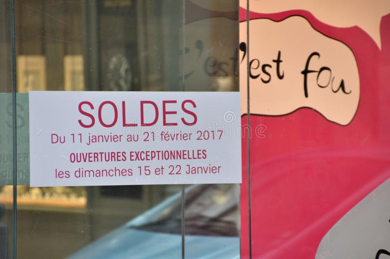 Sale price reduce sign in France. Marseille, France - June 27, 2019 : Sale price reduce sign stock image