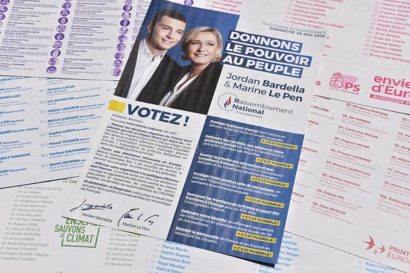 Vote ballots, for the European elections of May 26, 2019. Marseille, France - May 22, 2019 : The first vote ballots, for the European elections of May 26, 2019 stock images