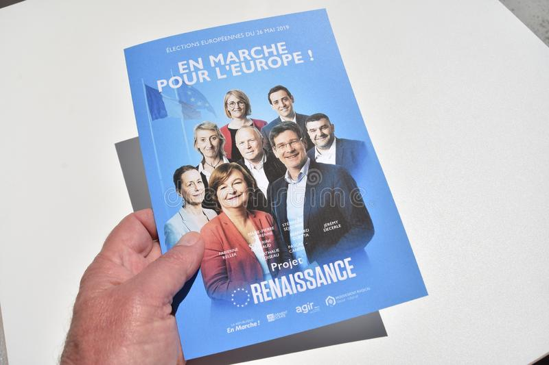 Vote ballots, for the European elections of May 26, 2019. Marseille, France - May 22, 2019 : The first vote ballots, for the European elections of May 26, 2019 stock image