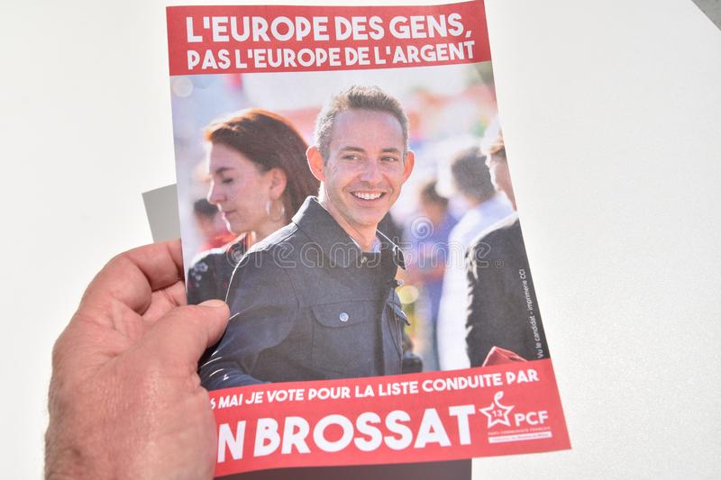 Vote ballots, for the European elections of May 26, 2019. Marseille, France - May 22, 2019 : The first vote ballots, for the European elections of May 26, 2019 stock photo