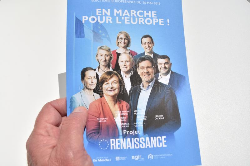Vote ballots, for the European elections of May 26, 2019. Marseille, France - May 22, 2019 : The first vote ballots, for the European elections of May 26, 2019 royalty free stock images