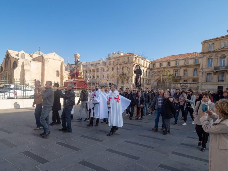 Sunday Mass catholic procession at Marseille stock images