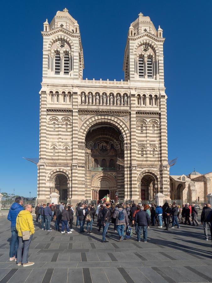 Sunday Mass catholic procession at Marseille royalty free stock photo