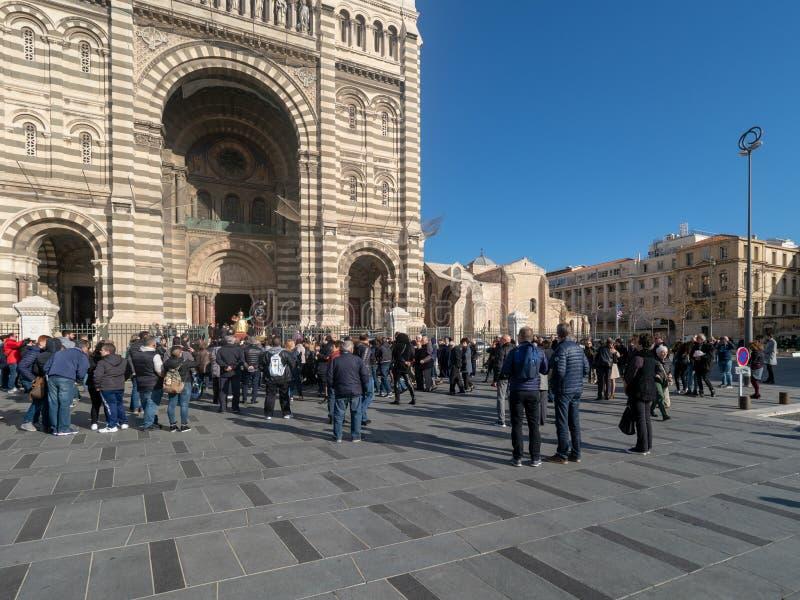 Sunday Mass catholic procession at Marseille stock photo