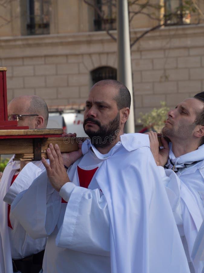Sunday Mass catholic procession at Marseille royalty free stock image