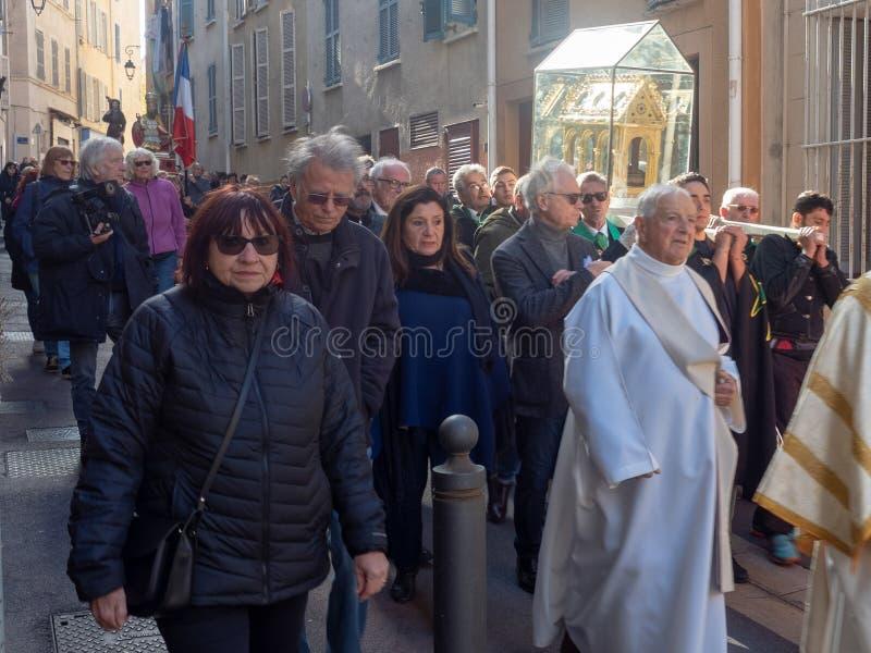 Sunday Mass catholic procession at Marseille royalty free stock photography