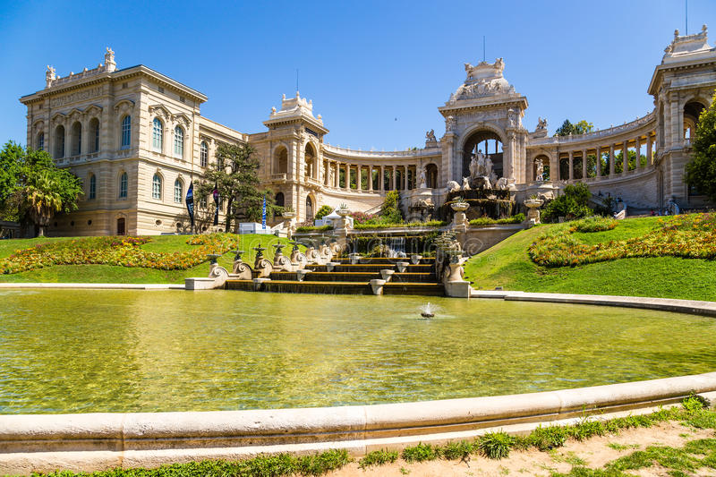 Marseille, France. Palace Longchamp and cascading fountain, 1869. The Palais Longchamp is a monument in the 4th arrondissement of Marseille, France. It houses royalty free stock photography