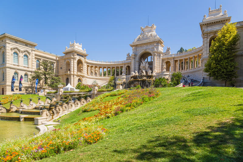 Marseille, France. Palace Longchamp and cascading fountain. The Palais Longchamp is a monument in the 4th arrondissement of Marseille, France. It houses the city stock photography